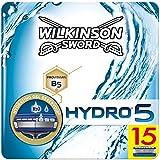 Wilkinson Sword Ffp ECO box Pack Hydro 5 - Kit de 15 recambios de cuchillas de 5 hojas para hombre, afeitado manual masculino