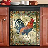 Rooster Dishwasher Cover Flower Magnet Kitchen Decorative Sticker, Country Cock Refrigerator Panel Decal Cover,Home Cabinets Fridge Stickers Home Appliance Art Cover 23'Wx26'H