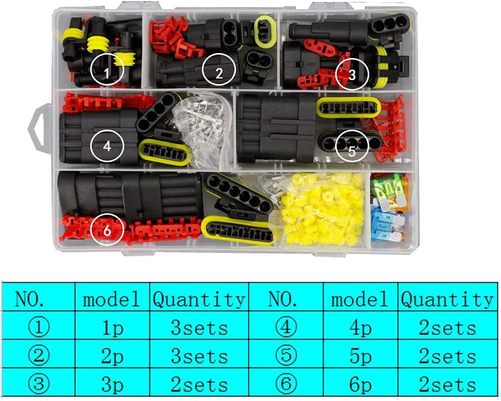1 Box of 14 Sets Waterproof Car Max Max 77% OFF 76% OFF Fuse El Connector 1-6P Wire Plug