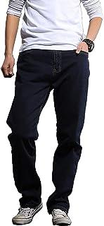 Hiloyaya メンズ 無地 ジーンズ ストレッチ ストレート デニムパンツ 大きいサイズ ジーパン ゆったり カジュアル203