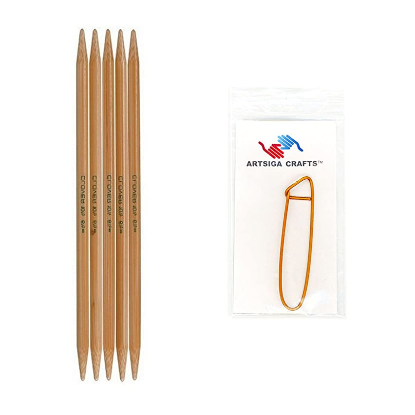 Clover Takumi Bamboo Double Point Knitting Needles 7 inch 5/Pkg Size 6/4mm Bundle with 1 Artsiga Crafts Stitch Holder 3015-06