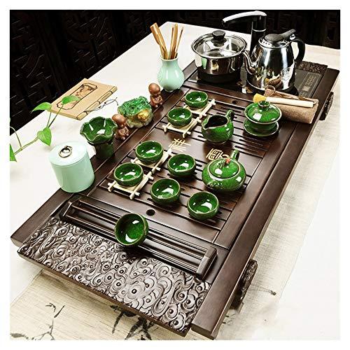 Tea Set Tray Kung Fu Tea Set, bambù GongFu tè Vassoio, Teiera Scaldabagno Legno Automatico, Cinesi Insiemi di tè in Ceramica, Cerimonia del tè Teiera Giocattolo Fissato for Il Regalo Home Office USA