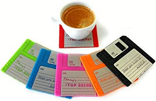 Novelty Floppy Disk Coasters for Drink, Silicone Blanked Label Retro 3.5 Inches Floppy Disk All-weather Mat 6 Set