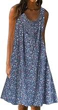 Rexinte Women Sleeveless Casual Midi Dress Print Loose Plus Size Beach Summer Wear Sun Dress