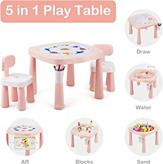 Costzon Kids Table and 2 Chairs Set, 5 in 1 Game Table for Drawing, Playing Sand & Water, Building Blocks, AR Recognition, Children Activity Table w/Pen Holder, Removable Cover, Storage Space (Pink)