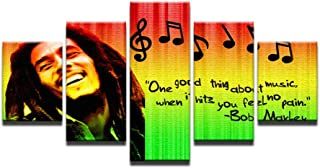Fbhfbh HD Prints Pictures Home Decor Modular Canvas Wall Art 5 Pieces Bob Marley Painting for Living Room Music Poster Framework -4x6/8/10inch,Without Frame