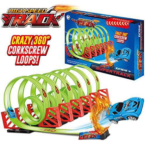 YIER Racer Track Set DIY Assembly Spiral Tracks Model with Pull Back Speeding Race Car