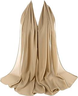 Women Chiffon Scarf, Fashion Muslim Soft Long Shawl Wrap Hijab with Pearl Decor