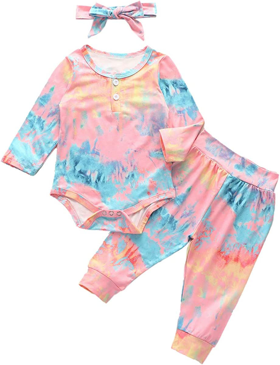 Newborn 2021 new Infant Girl Tie Dye Sleeve TopsSwea Outfit Rompers Mail order Long