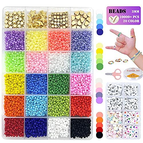 Aoibeely Cuentas para Hacer Pulsera, 10000+Piezas abalorios para hacer collares,3mm Cuentas de Colores para accesorios de joyería de pulsera de bricolaje (20 Colores)