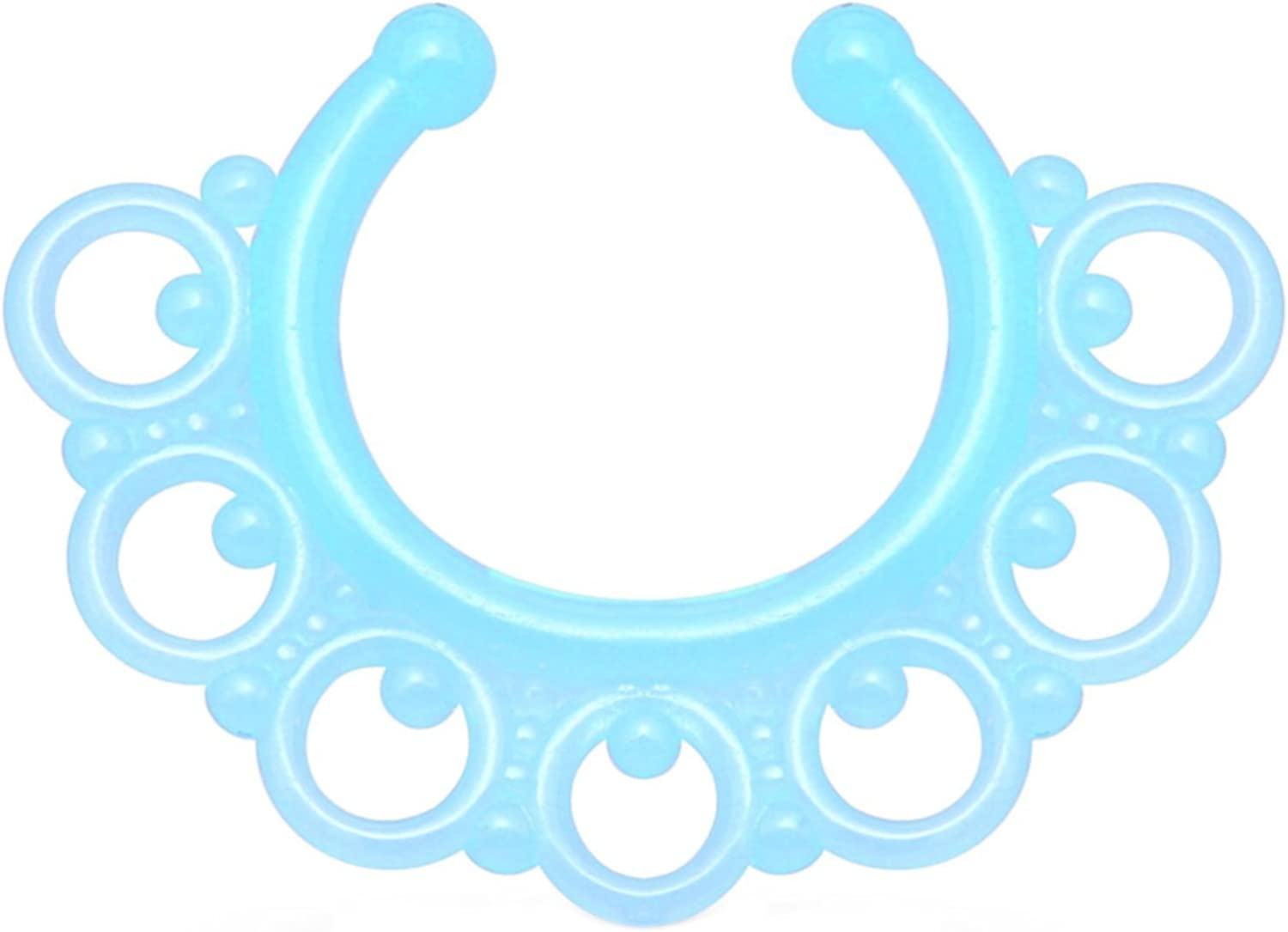 Many popular brands Blue Glow In The Dark Ornate Super-cheap Non-Pi Septum Style Tribal Jewelry