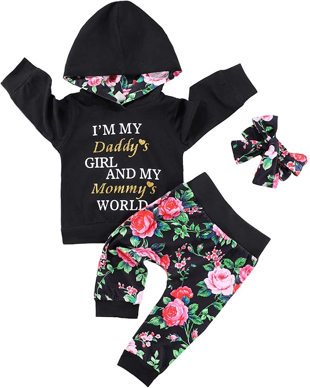 Baby Girl Clothes Daddy Mommy Print Long Sleeved Hooded Top and Floral Trousers with Headband Outfits Set(Black & Hoodies, 18-24 Months)