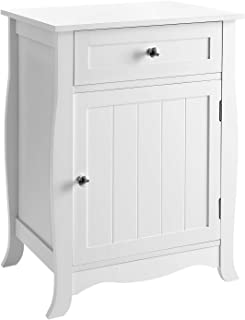 SONGMICS White Nightstand, End Table with Storage Cabinet and Drawer, Wooden Bedside Table, Large Capacity, Easy to Assemble