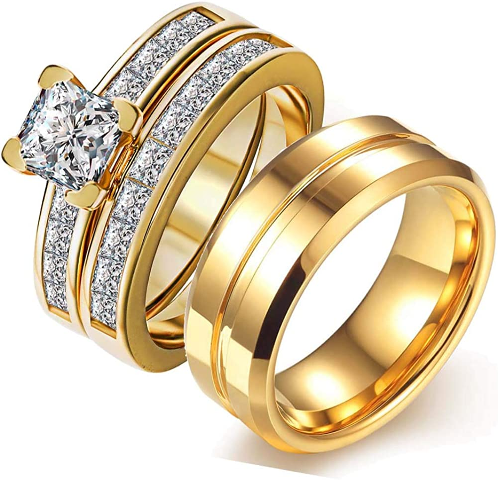 Wedding Ring Sets Couples Rings 2pc Yellow Gold Filled Cz Wedding Engagement Ring Bridal Sets Stainless Steel Wedding Band