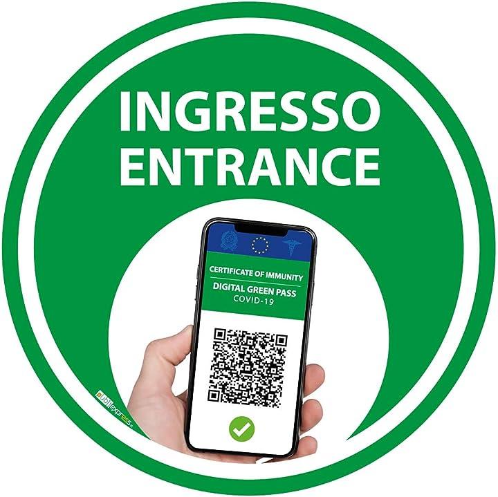 Adesivo entrata green pass bollino verde certificazione verde (25cm) (5 pezzi) publiexpress B099X5VS2W