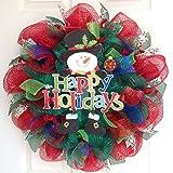 Happy Holidays Snowman Handmade Deco Mesh Wreath