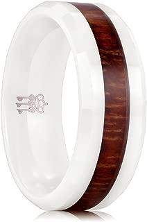 8mm White Ceramic Wedding Ring with Hawaiian Koa Wood Inlay Men's Wedding Band Engagement Ring