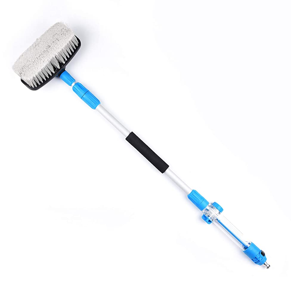 LOVHO Telescopic Multi-function Wash Brush Long Handle for Added Reach (Blue)