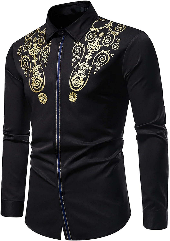 Dress Shirt for Men Hawaiian Shirts Casual Long Sleeve Slim Fit Concealed Access Control Lapel Shirt Fall/Winter