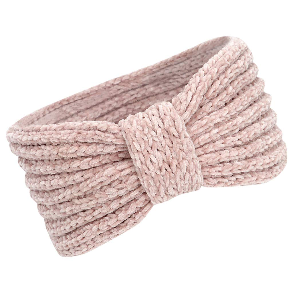 Holzkary Hairbands Women's Cable Knitted Headbands Chunky Ear Warmer Head Wrap Suitable for Daily Wear and Sport(Pink-2)