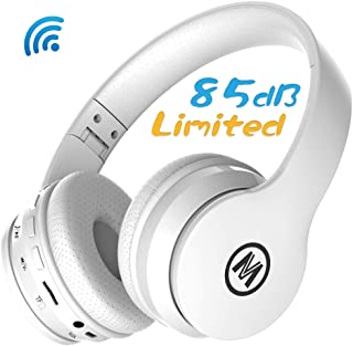 Mokata Kids Headphone Bluetooth Wireless Over Ear Foldable Stereo Sound Headset with AUX 3.5mm Jack Cord SD Card Slot, Built-in Mic Microphone for Boys Girls Cellphone TV PC Game Equipment B01 White