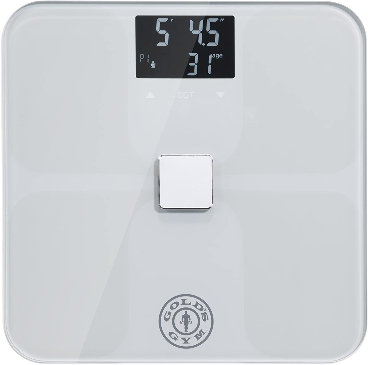 gold's Gym Digital Body Weight Bathroom Scale Measures BMI, Body Fat Water and Muscle Mass, Stepon Technology, Portable, Silver