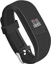 OenFoto Compatible Garmin Vivofit 3 Vivofit JR Bands with Metal Secure Watch Clasp, Silicone Replacement Bands for Garmin Vivofit 3 JR- Black