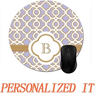 Lavender and Gold Moroccan Monogrammed Mouse Pad Trendy Office Desk Accessory 8