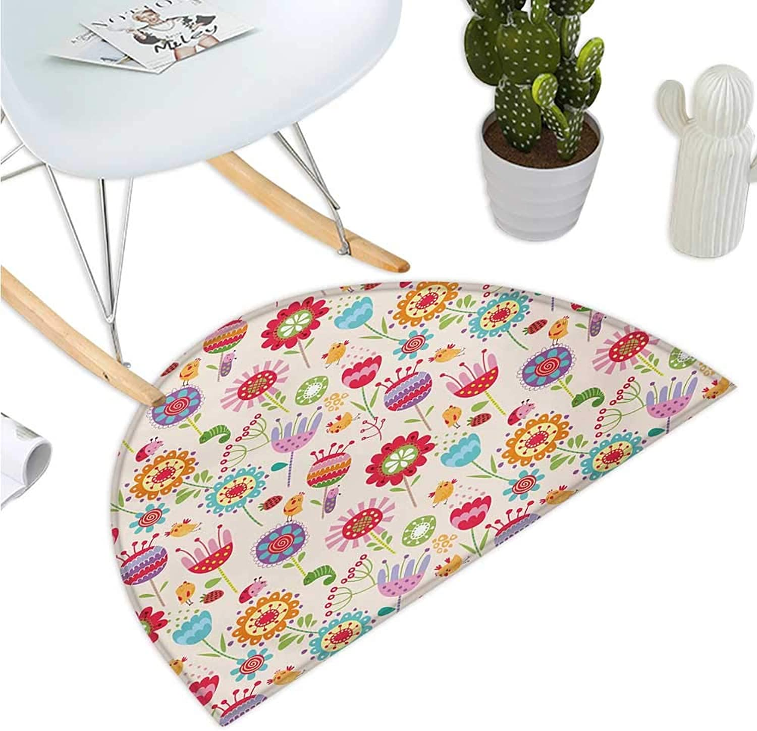 Floral Semicircular Cushion Cartoon Drawing Style Ladybug Strawberry Bird Caterpillar Vibrant colord Characters Entry Door Mat H 39.3  xD 59  Multicolor