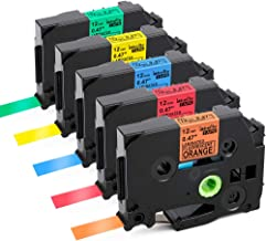 Labelife Compatible Label Tape Replacment for Brother Ptouch TZe TZ Tape 12mm 0.47 Inch Laminated Black on Orange/Red/Blue/Yellow/Green Compatible with Brother P-Touch D210 D400 1280 1800 1880, 5-Pack