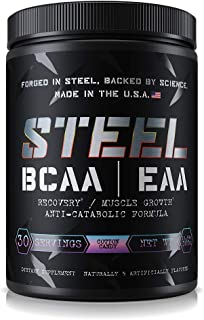 Steel Supplements BCAA EAA Powder High Performance Promotes Lean Muscle Growth 1lb (Cotton Candy)