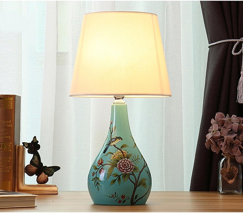 Tischlampe Nachttischlampe Wohnzimmer Studie Stoff Warm Light Keramik Tischlampe (Farbe   A-Taste)