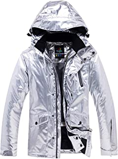 HAHASOLE Women Shiny Metallic Waterproof Ski Winter Jacket Windproof Fleece Coat