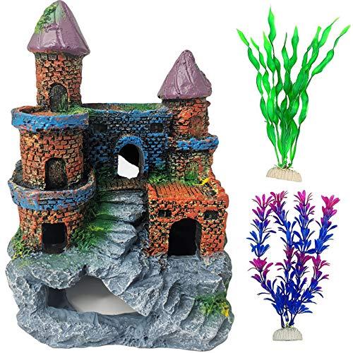 PINVNBY - Decoración para acuario de resina para peces, decoración de columna romana con plantas acuáticas artificiales para peces pequeños