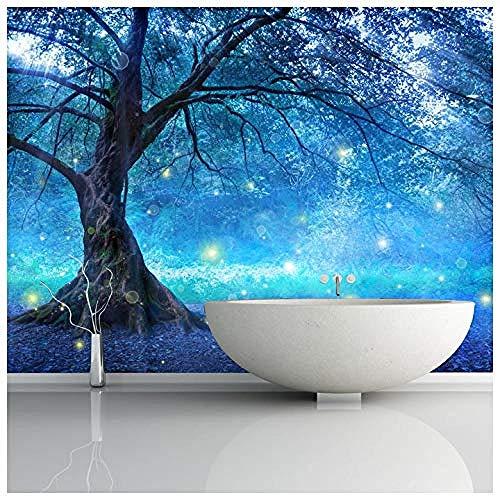 Zbzmm Fleece Blue Fairy Tree Fotobehang sprookjesbos Fotobehang Meisjes Slaapkamer Decor 270cm(w) X 180cm(h)