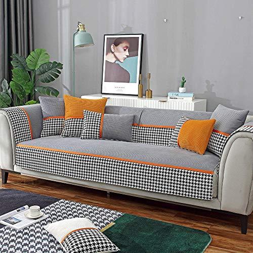 Suuki Funda de sofá,Funda Antideslizante para sofá de Cuero,Moderna Oficina 1/2/3/4 Fundas para sofá,Fundas Protectoras de Felpa Suave para Muebles-Gris Oscuro_Los 70 * 120cm