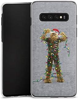 Hardcase compatibel met Samsung Galaxy S10 Plus Hoesje Doorzichtig Telefoonhoesje Chewbacca Kerst Star Wars