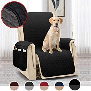 MOYMO Reversible Oversized Recliner Chair Cover,Durable Recliner Slipcover with Strap,Recliner Protector,Machine Washable Recliner Cover for Dogs,Kids,Pet(Recliner Oversize:Black/Dark Grey)