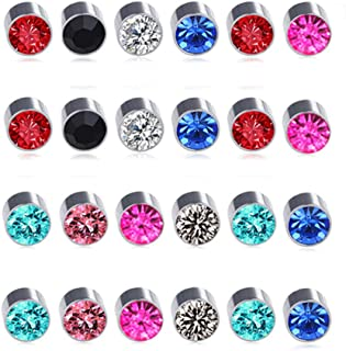 12 Pairs Colors Crystal Leopard Flower Face Magnetic Clip Non Piercing Earrings Set