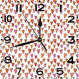 PICOM99 Reloj Cuadrado Inspirado en el corazón Forma Desigual Formas de corazón Concepto del día de San Valentín BurntSilent Decoración de la Oficina en casa Reloj sin tictac