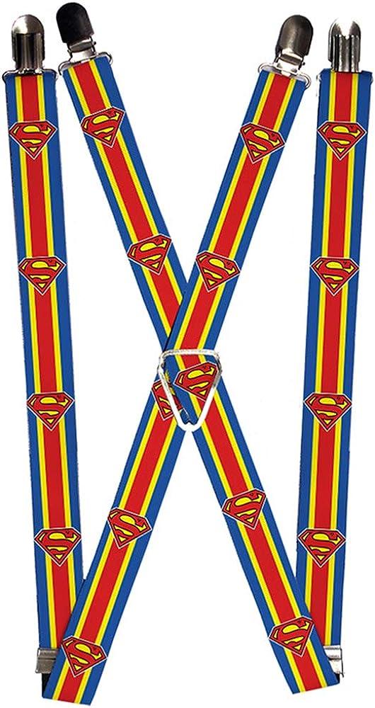 Buckle-Down Suspenders-Superman Shield/Stripe Blue/Yellow/red
