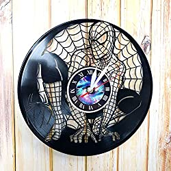 Spiderman - Avengers - Wall Clock Made of Vinyl Record - Handmade Original Design - Great Gifts idea for Birthday, Wedding, Anniversary, Women, Men, Friends, Girlfriend Boyfriend and Teens