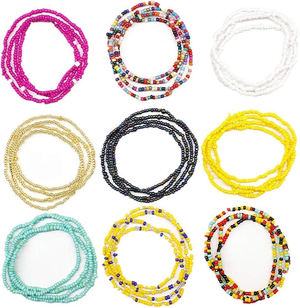 9 Pieces Tiny Seed Beaded Bracelet Boho Hawaiian White Rainbow Adjustable Colorful Bracelet for Women Girls Summer Handmade Turquoise Beach Beads Jewelry
