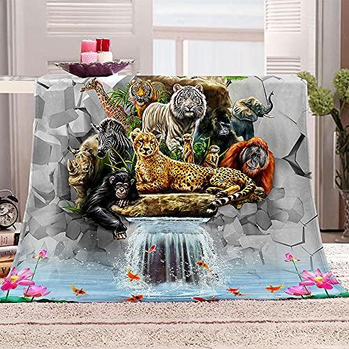 Tigre Manta de Tiro Impresa Animales Leones guepardos orangutanes 3D Manta para niños Adultos Mantas de Lana con Franela Ligera Manta para sofá de Cama y Viaje 130x150cm