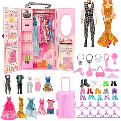 armadio barbie con 20 vestiti Miunana 44 Accessories: Armadio + 8 Abiti Vestiti + 10 PCS Scarpe per Bambola Ragazza + 2 Abiti + 2 PCS Scarpe per Bambola Ragazzo + Valigia + 10 Accessori + 10 Grucce