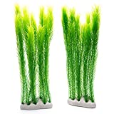 MACHUMA Artificial Aquarium Plants 2Pcs, Fish Tank Aquarium Decorations Background Green Water Plants, Safe for All Fish & Pets