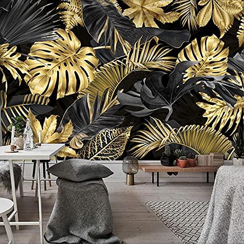 3D Fotomurales Hojas Doradas Salón Dormitorio Despacho Pasillo Decoración Murales Decoración De Paredes Moderna 450X300cm