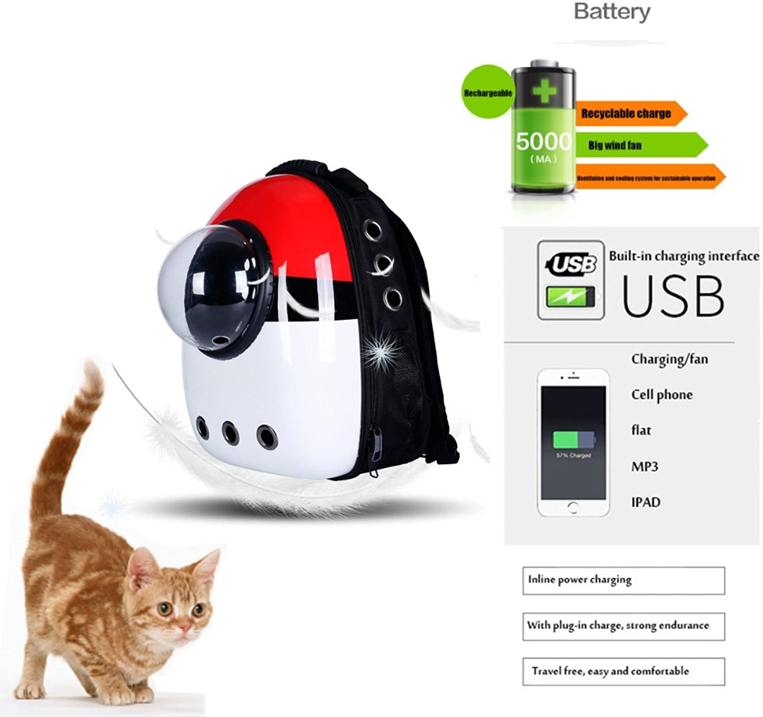 Pet Carrier Cat Dog Small,Portable Capsule Backpack Travel Intelligent Cooling Heating Pet Cages, red