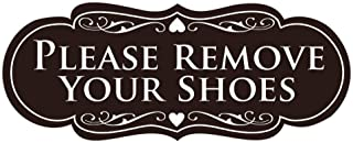 All Quality Designer Please Remove Your Shoes Thank You Sign - Dark Brown Small