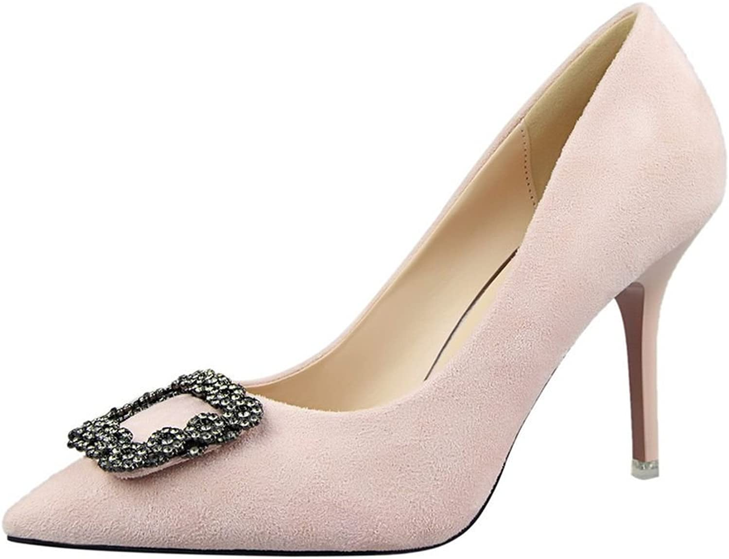 R.Y.S.E Ryse Women's Delicate Square Rhinestone Suede Elegant Temperament Thin High Heels Pointy shoes(39 M EU 8.5 B(M) US, Pink)